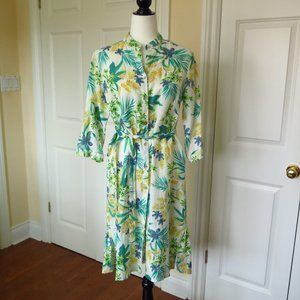 White Linen Summer Dress with Floral Design